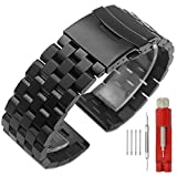 20mm Black Watch Band Premium Solid Stainless Steel Metal Replacement Double Locks Strap for Men Women