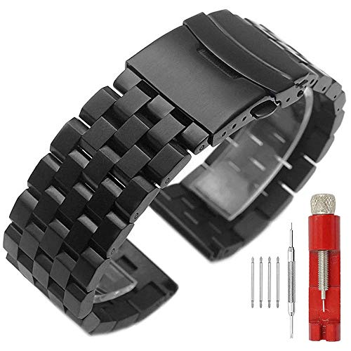 - 22mm Black Watch Band Premium Quality Stainless Steel Metal Deployment Double Clasp Strap for Men Women
