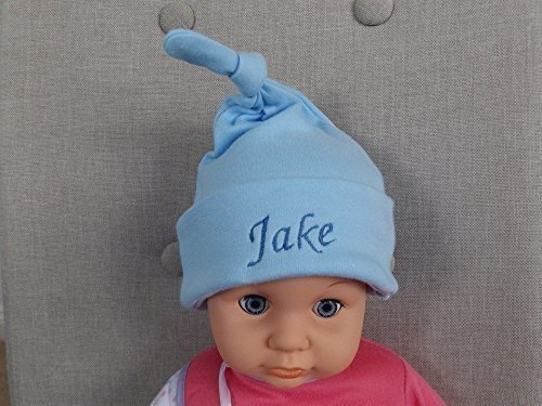Image Unavailable. Image not available for. Colour  Personalised Newborn Baby  Boy Top Knot Hat ... 4e272ec7e46