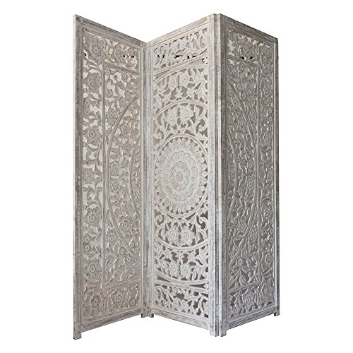 Indian Heritage - Wooden Screen 3 Panel MDF Cutout Design in White Distress (Carved Wooden Screen)