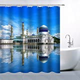 Feierman Thai Castle Shower Curtain Blue Sky Clear Water Home Decor Bathroom Curtains Machine Washable Mildew Resistant Waterproof with Hooks 70x70Inch