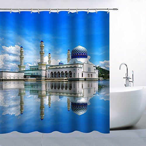 Feierman Thai Castle Shower Curtain Blue Sky Clear Water Home Decor Bathroom Curtains Machine Washable Mildew Resistant Waterproof with Hooks 70x70Inch by Feierman