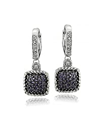 Silver Tone 1.2ct Amethyst & White Topaz Square Rope Leverback Earrings