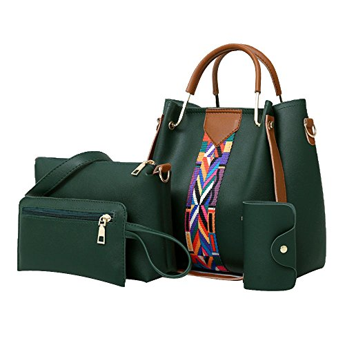 Purse Set Elegant Card Shoulder Joint Bag Tote Leather Pink PU Green Handbag 4pcs Bag Holder Women Split pnRqw1qF