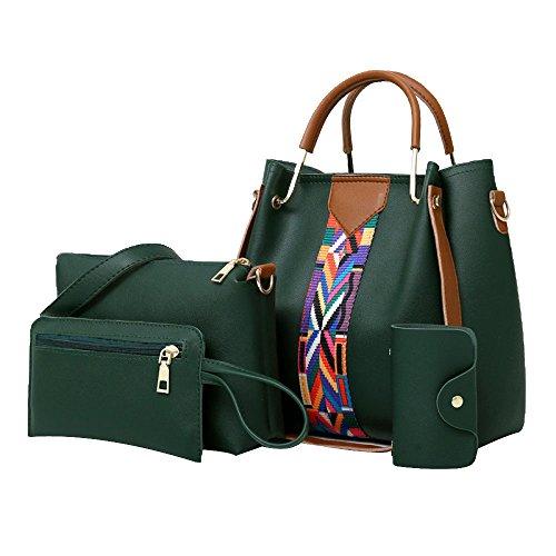 Joint Set Elegant Card Bag Women Bag Green PU Leather Tote Shoulder 4pcs Holder Split Purse Handbag Pink U4qgw7zEWq