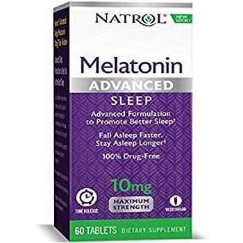 Natrol Advanced Sleep Melatonin Tablets, Maximum Strength 10 mg 60 ea (Pack of 2)