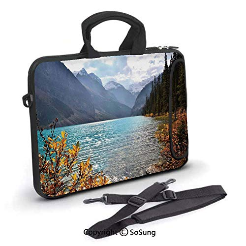 17 inch Laptop Case,Lake Louise Banff National Park Canada Mountains Autumn Plants Neoprene Laptop Shoulder Bag Sleeve Case with Handle and Carrying & External Side Pocket,for Netbook/MacBook Air Pro