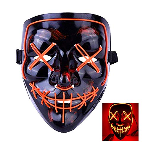 SZMAITOU Light Up Mask Flashing Cosplay LED Masks Frightening EL Wire Glowing Costume Masks for Festival Cosplay Halloween Christmas Parties Bar Nightclub - Red Light