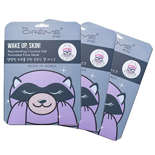 Coconut Pieces - The Crème Shop - Wake Up, Skin! (Raccoon Face Mask) 3 Piece Value Set - Coconut Gel & Hyaluronic Acid