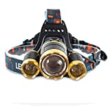 Best Led Headlamp Flashlight,Super Bright 10000 Lumens Headlight,Waterproof Hard Hat Light ,Bright Head Lights-Improved Led, Rechargeable18650 Batteries for Hunting Fishing Outdoor Sports(Silver) (Golden)