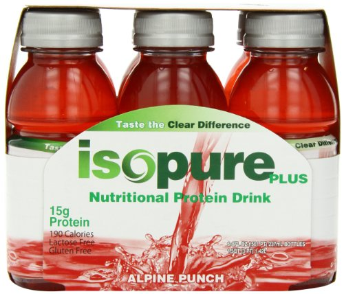 Isopure Plus Nutritional Drink Alpine Punch, 8 oz., 6 Count (Pack of 4)