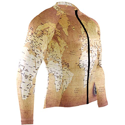 (Old Compass World Map Mens Cycling Jersey Top Long Sleeve Road Cycle Skinsuits Outfit)