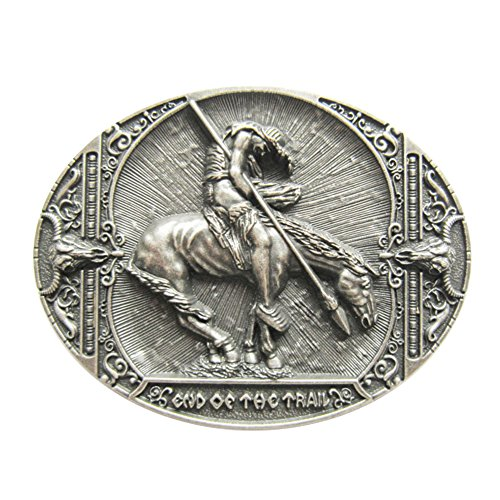 New Vintage Silver Plated End Of The Trail Native American Oval Belt Buckle - End Of The Trail Belt Buckle