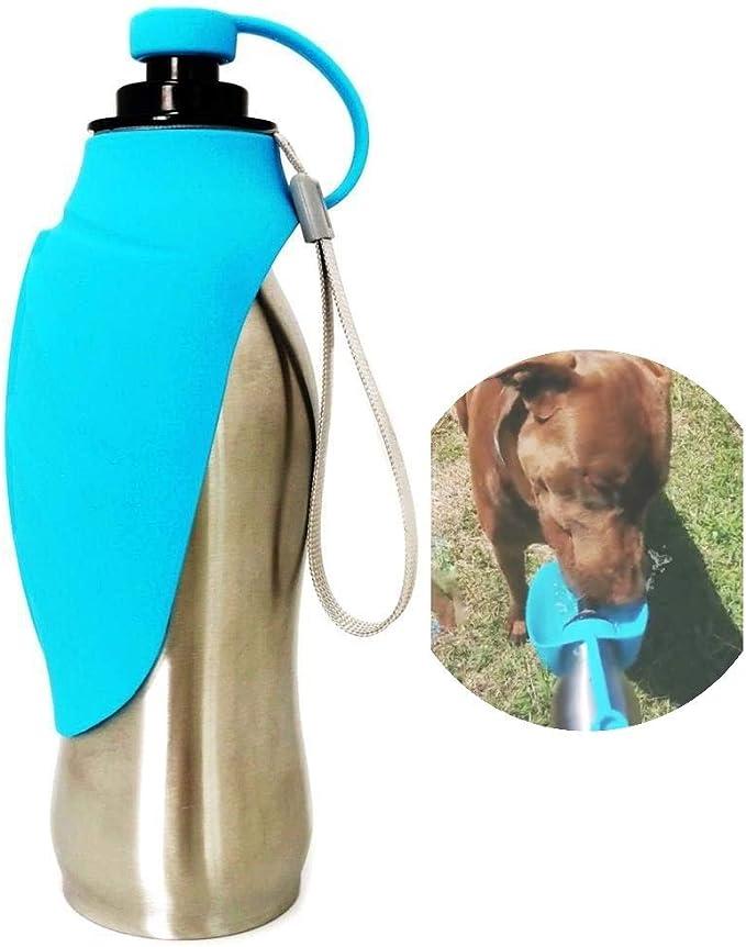 para viajes laamei Botella de agua para perros botella de agua para perros paseos a prueba de fugas plegable 420 ml morado claro camping