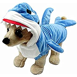 Funny Halloween Dog Shark Costume Cosplay Clothes For Yorkshire Winter Warm Fleece Small Dog Pet Cat Custome Coat Jacket Hoodie Clothing (XS, Blue)