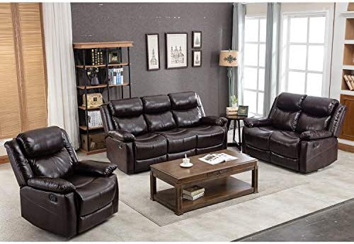 Outstanding Harper Bright Designs Recliner Sofa Leather Sofa Set Manual Reclining Sofa Seat For Living Room Recliner Chair Loveseat Sofa And Reclining Couch Bralicious Painted Fabric Chair Ideas Braliciousco