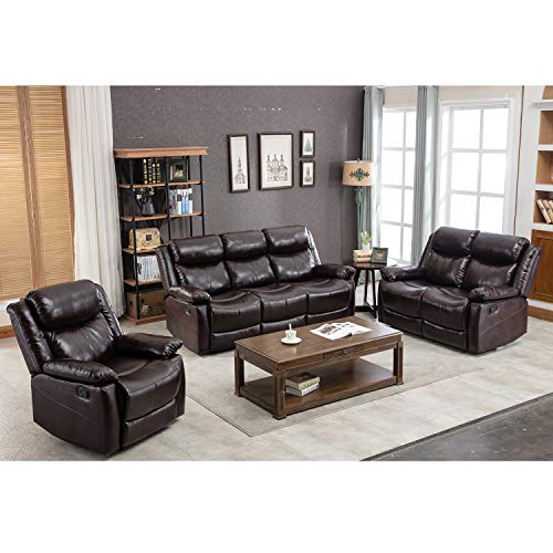 Harper&Bright Designs Brown Leather Couch Sectional Reclining Sofa Classic Recliner Sofa Chair for Living Room (1 Seat+Loveseat&3-Seat, Dark Brown)