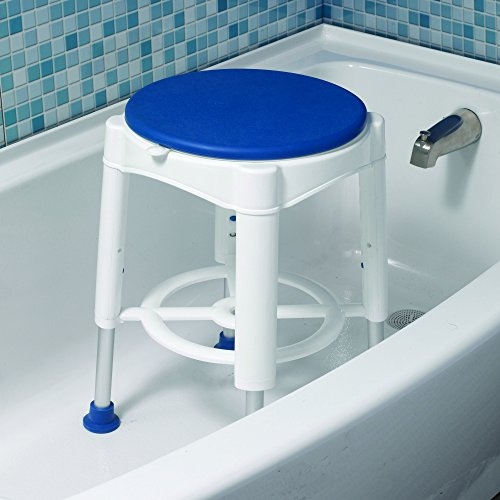 Drive Medical Bath Stool With Padded Rotating Seat, White with Blue Seat by Drive Medical (Image #3)