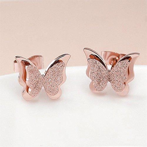 Aikesi 1 paio di Orecchini per le Donne Eleganti Orecchini Forma di Farfalla Nuova Moda Ornamento Accessori Oro rosa