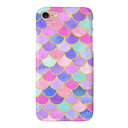 uCOLOR Mermaid Scales Pink Case Compatible with iPhone 6 6S 8 7 Protective Cover Dual Layer Soft TPU Tough Case for iPhone 6S/6/7/8 (Fish And Water Iphone Case)