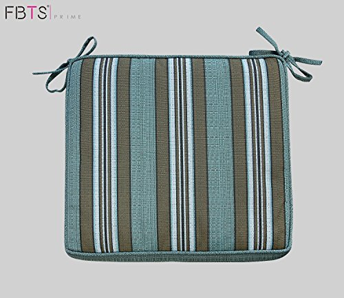 Bistro Chair Cushion 16 x 16 Inches Indoor/Outdoor Seat Pads Square (Set of 2, Green, Stripe) for Outdoor Patio Furniture Garden Home Office by FBTS Prime (Chair Covers Seat Bistro)