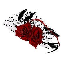 Bridal Fascinator Red Rose Flower Dots Hair Clips Headwear Wedding Supplies