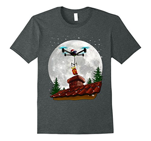 Mens Santa's Christmas Gift Delivery by Drone Funny T-shirt 3XL Dark Heather