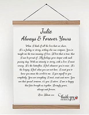 De estilo romántico con poema Regalo de desplazamiento personalizable (A4)- Novios en el altar. Con vela. Carta de amor - incluye estuche regalo. Apto para aniversario, cumpleaños, día de San Valentín, de