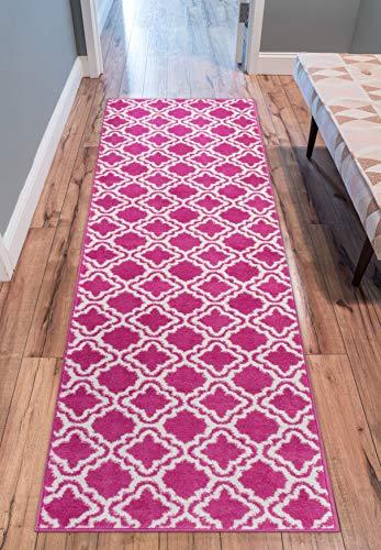 Modern Rug Calipso Pink 2'X7'3'' Runner Lattice Trellis Accent Area Rug Entry Way Bright Kids Room Kitchn Bedroom Carpet Bathroom Soft Durable Area Rug