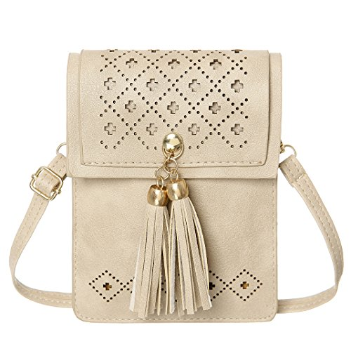 Beige Crossbody Cell Phone Small Texture With Purse Tassels Wallet Women Hollow Bags HPH1Uqp