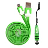 Emartbuy® Duo Pack For Sony Xperia Z - Green Metallic Mini Stylus + Green Flat Anti-Tangle Micro USB Sync / Transfer Data & Charger Cable