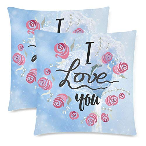 Waterfall Dolphin (Ashasds Dolphin in The Heart of Ocean with I Love You Sea Waterfall Throw Pillow Covers for Home Indoor Cushion Standard Size 20x20 Inch (2PC))
