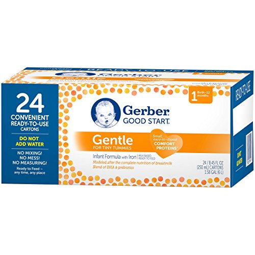 Gerber Good Start Gentle Non-GMO Ready to Feed Infant Formula, Stage 1, 8.45 Fluid Ounce (Pack of 24)