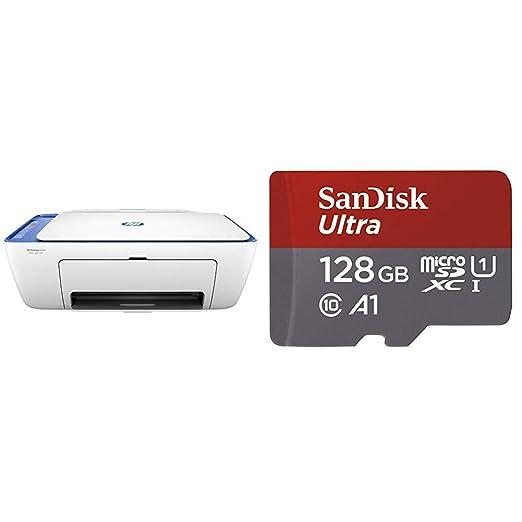 HP Deskjet 2630 – Impresora Multifunción Inalámbrica Color Blanco y Azul + SanDisk Ultra - Tarjeta de Memoria microSDXC de 128 GB con Adaptador SD, ...