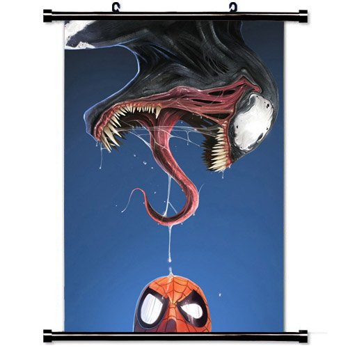 Home Decor Art Movie Poster with Spider Man And Venom Comic Wall Scroll Poster Fabric Painting 23.6 X 35.4 Inch (60cm X 90 cm)