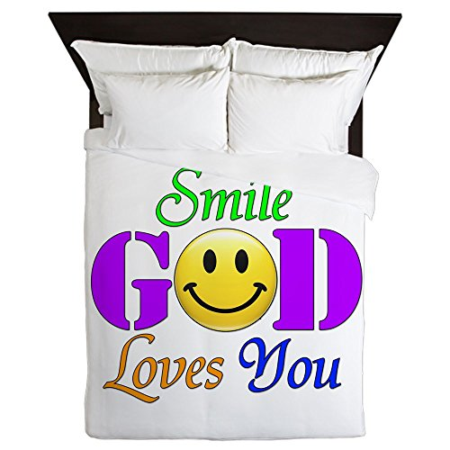 Queen Duvet Cover Smile God Loves You by Royal Lion
