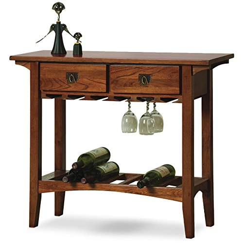 Leick Mission Wine Table with Storage Drawers, Russet Finish Ash Dining Room Cabinet