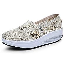 Women's Mesh Platform Walking Shoes Lightweight Slip-On Fitness Work Out Sneaker Shoes