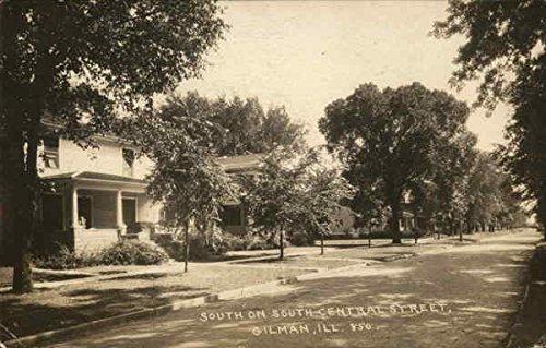 South on South Central Street Gilman, Illinois Original Vintage Postcard