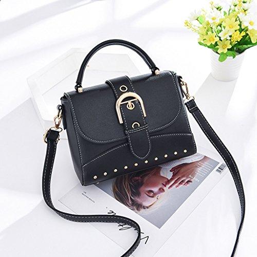 cuadrado moda ocasionales señora asas de de nuevo PU bolso Black hombro pequeño Black Bolsos la cuero la verano Color bolsas bolsas la de de de 1wX6U