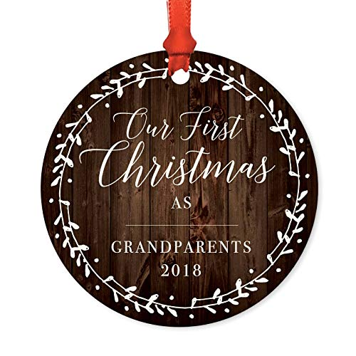- Andaz Press Family Metal Christmas Ornament, Our First Christmas As Grandparents 2019, Rustic Wood Florals, 1-Pack, Includes Ribbon and Gift Bag