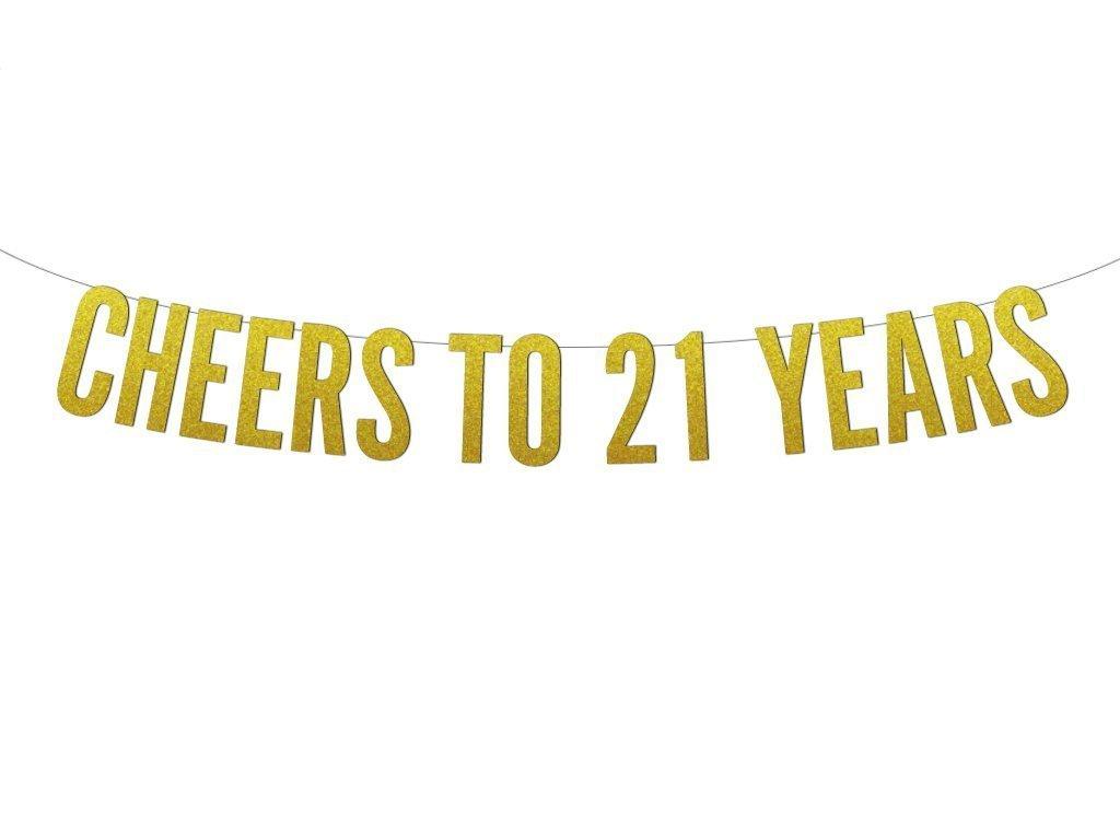 Amazon com cheers to 21 years block letters glitter banner handmade