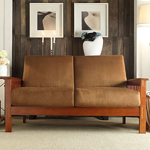 Durable Tribecca Home Hills Mission Style Oak Loveseat Perfect Addition To Any Room Rust