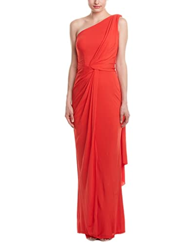 David Meister Womens One-Shoulder Sleeveless Evening Dress
