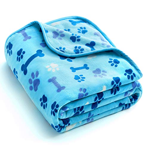 Allisandro 350 GSM-Super Soft and Premium Fuzzy Flannel Fleece Pet Dog Blanket, The Cute Paw and Bone Design Washable Fluffy Blanket for Puppy Cat Kitten Indoor or Outdoor, Blue, 39 x 31