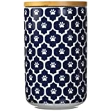 "DII Bone Dry Ceramic Pet Treat Storage Canister with Air Tigh Lid 4""(Dia) x 6.5"" (H), Perfect Food and Treat Jar for Dogs and Cats-Nautical Blue Paw Lattice"
