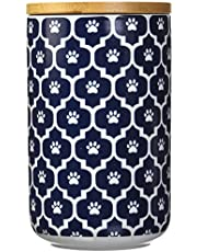 """DII Bone Dry Ceramic Pet Treat Storage Canister with Air Tight Lid 4""""(Dia) x 6.5"""" (H), Perfect Food and Treat Jar for Dogs and Cats"""