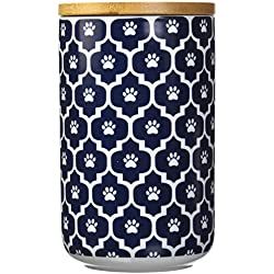 """Bone Dry DII Ceramic Pet Treat Storage Canister with Air Tight Lid 4""""(Dia) x 6.5"""" (H), Perfect Food and Treat Jar for Dogs and Cats-Nautical Blue Paw Lattice"""