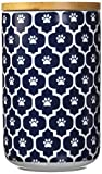 DII Bone Dry Ceramic Pet Treat Storage Canister with Air Tight Lid 4'(Dia) x 6.5' (H), Perfect Food and Treat Jar for Dogs and Cats-Nautical Blue Paw Lattice
