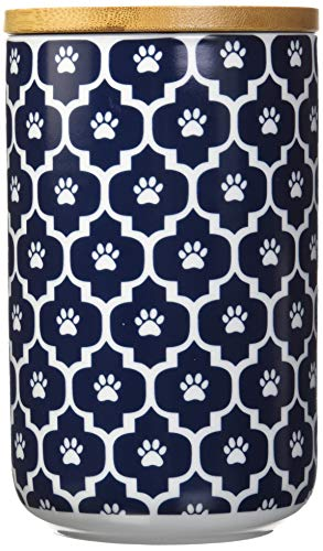 Bone Dry DII Ceramic Pet Treat Storage Canister with Air Tight Lid 4(Dia) x 6.5 (H), Perfect Food and Treat Jar for Dogs and Cats-Nautical Blue Paw Lattice